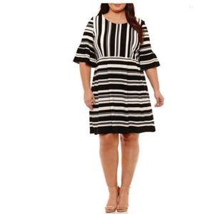 Studio One New York Midi Dress Black White NEW